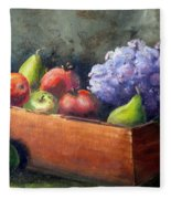 Fruit With Hydrangea Fleece Blanket