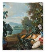 Fruits Flowers And Vegetables In A Landscape Fleece Blanket