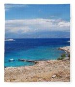 Ftenagia Beach On Halki Fleece Blanket