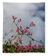 Fuchsia Mexican Coral Vine On White Clouds Fleece Blanket