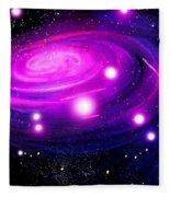 Fuchsia Pink Galaxy, Bright Stars Fleece Blanket