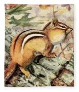 Fuertes, Louis Agassiz 1874-1927 - Burgess Animal Book For Children 1920 Striped Chipmunk Fleece Blanket