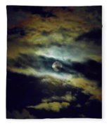 Full Moon And Clouds Fleece Blanket