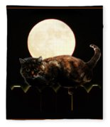 Full Moon Cat Fleece Blanket