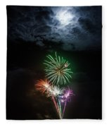 Full Moon Fireworks Fleece Blanket