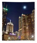 Full Moon Over Chi Town Fleece Blanket