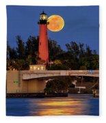 Full Moon Over Jupiter Lighthouse, Florida Fleece Blanket