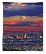 Full Moon Over New York City In October Fleece Blanket