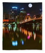 Full Moon Over Pittsburgh Fleece Blanket