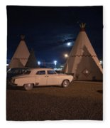 Full Moon Over Wigwam Motel Fleece Blanket