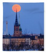 Full Moon Rising Over Gamla Stan In Stockholm Fleece Blanket