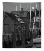 Full Moon Rising Over Motif  Number 1 Rockport Ma Black And White Fleece Blanket