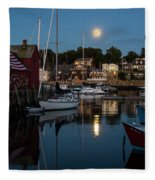 Full Moon Rising Over Motif  Number 1 Rockport Ma Moonrise Fleece Blanket