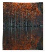 Full Of Glory - Cypress Trees In Autumn Fleece Blanket