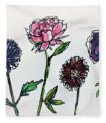 Four Flowers  Fleece Blanket