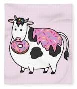 Funny Fat Holstein Cow Sprinkle Doughnut Fleece Blanket