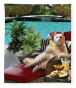 Funny Pet  Vacationing Kitty Fleece Blanket