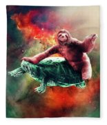 Funny Space Sloth Riding On Turtle Fleece Blanket