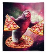 Funny Space Sloth With Pizza Fleece Blanket