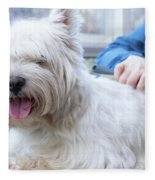 Funny View Of The Trimming Of West Highland White Terrier Dog Fleece Blanket