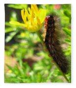 Furry Caterpillar On A Yellow Flower Fleece Blanket