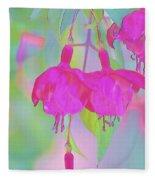 Fuchsia Flower Abstract Fleece Blanket