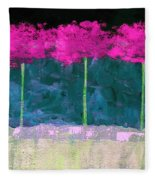 Fuschia Trees Fleece Blanket