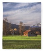 Fussen Mountain Scene Fleece Blanket