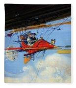 Futuristic Air Travel Vintage Poster Fleece Blanket