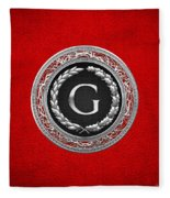 G - Silver Vintage Monogram On Red Leather Fleece Blanket