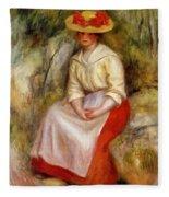 Gabrielle In A Straw Hat 1900 Fleece Blanket