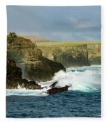 Cliffs At Suarez Point, Espanola Island Of The Galapagos Islands Fleece Blanket