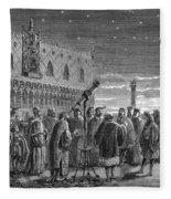 Galileo Demonstrates Telescope, 1609 Fleece Blanket