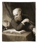 Galileo With Compass And Diagrams Fleece Blanket