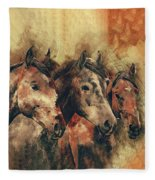 Galloping Wild Mustang Horses Fleece Blanket