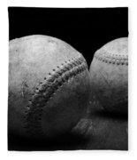 Game Used Baseballs In Black And White Fleece Blanket