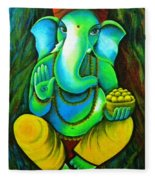 Ganesh In Garden Fleece Blanket
