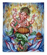Ganesha Dancing And Playing Mridang Fleece Blanket