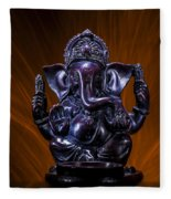 Ganesha With Fire Background Fleece Blanket