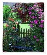 Garden Bench And Trellis Fleece Blanket