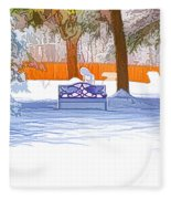Garden  Bench With Snow Fleece Blanket