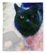 Garden Cat- Art By Linda Woods Fleece Blanket
