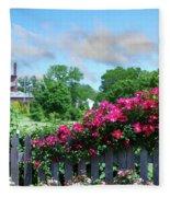 Garden Fence And Roses Fleece Blanket
