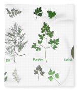 Garden Herbs Fleece Blanket