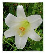Garden Lily Posterized Background Fleece Blanket