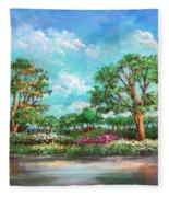 Summer In The Garden Of Eden Fleece Blanket