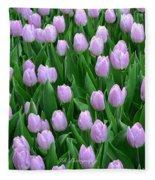 Garden Of Pink Tulips Fleece Blanket