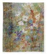 Garden Of White Flowers Fleece Blanket