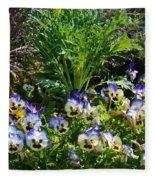Garden Pansies Fleece Blanket