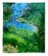 Garden Stream Fleece Blanket